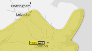 The area affected by the Met Office yellow weather warning for strong winds.