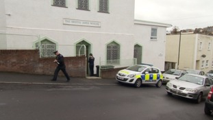 Police search for evidence after a mosque  in Totterdown was vandalised in 2016.