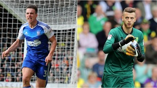Jonas Knudsen (left) scored in both derby games last season, while Angus Gunn (right) is preparing to play in his first.