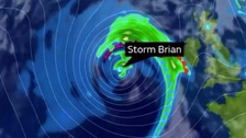 Storm Brian is due to arrive on UK shores from 4am on Saturday