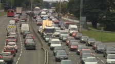 The improvement works on the A386 causing tailbacks.