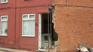 The crash has left a gaping hole at the front of the house in Cheapside, Worksop.