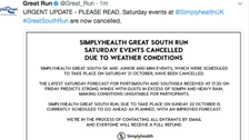 All Great South Run events cancelled on Saturday