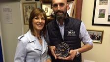 Pam Royle with winner Mark Solan