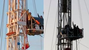 Protestors scale fracking rig