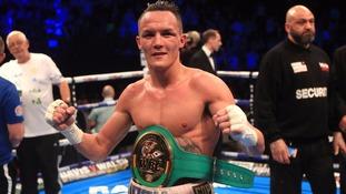 Josh Warrington celebrates beating Kiko Martinez during their WBC International Featherweight…