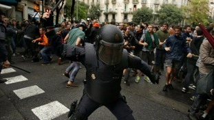 Police during Catalonian protests