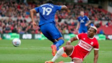 Middlesbrough's Adama Traore fouls Cardiff City's Nathaniel Mendez-Laing to concede a penalty…