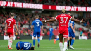 Middlesbrough's Adama Traore gestures after conceding a penalty during the Sky Bet Championship…