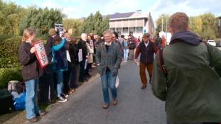 Around 100 anti-hunt protestors lobbied voters