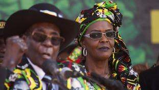Mugabe with his wife First Lady Grace Mugabe.
