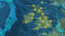 Dry and bright in the south with rain in the north
