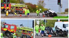 Man dies following crash involving car and fire engine on busy road