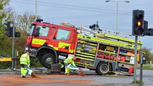 Photo from the scene of the crash in Narborough, Leicestershire