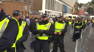 Dozens of officers policed the game at Portman Road