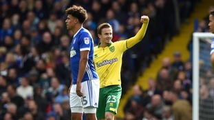 James Maddison curls in from edge of the box to give visitors Norwich lead on hour mark