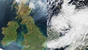 Satellite images showing cloud cover over Britain
