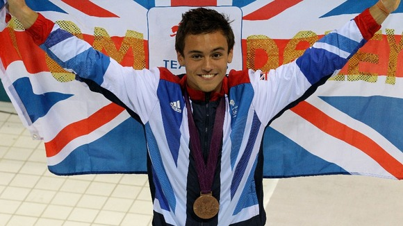 Tom Daley as he celebrates his Bronze medal