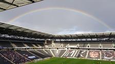 A rainbow over Stadium MK.