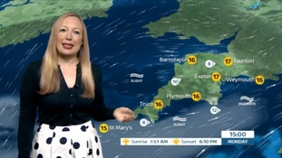 Rain early on Monday. Brightening up and feeling warmer in the lighter winds