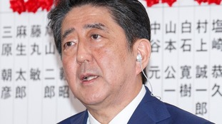 Japanese Prime Minister Shinzo Abe, leader of the Liberal Democratic Party (LDP), answers questions from journalists.