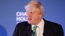 Boris Johnson speaks during a press conference with Mexican Foreign Minister Luis Videgaray in central London.
