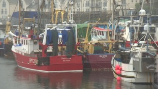 Fishing trawlers in Brixham Harbour.