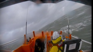 RNLI release rescue operation video during storm