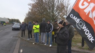 Northern Aerospace workers on strike.