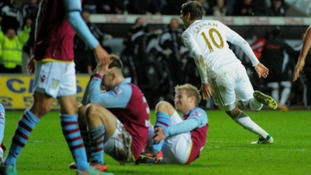 Danny Graham celebrates against Aston Villa