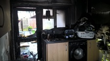 Damage caused to the kitchen following the fire.