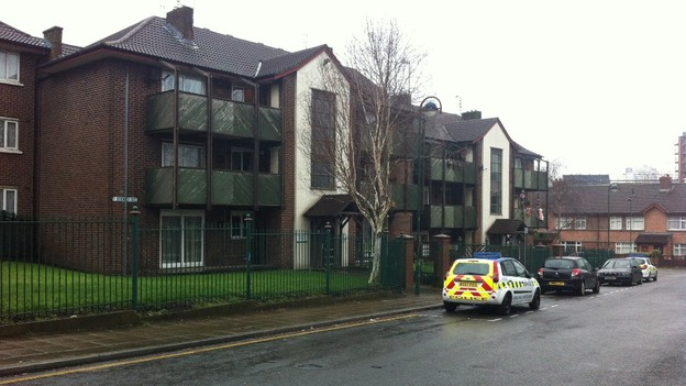 A block of flats on Rodney Street, Salford where a man has been stabbed to death.