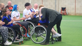 Prince Harry meets wheelchair basketball players at the University of Central Lancashire