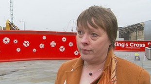 Maria Eagle speaking outside Kings Cross station today