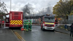 Firefighters are tackling the blaze on Ashton Old Road, Beswick