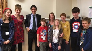 MP Rory Stewart with Helen Jackman, Alex Heape and their children