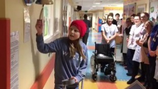 Schoolgirl given 'guard of honour' to celebrate end of her cancer treatment