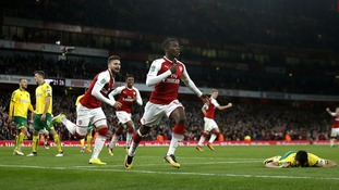 Eddie Nketiah scores twice to help Arsenal come from behind against Norwich in the League Cup