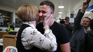Brit Jamie Harron who was sentenced to prison for 'touching man's hip' in Dubai arrives back in UK