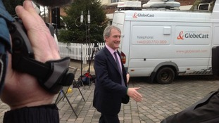 Owen Paterson arrives in Upton upon Severn