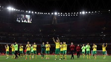 Norwich City's players salute their fans after the final whistle.