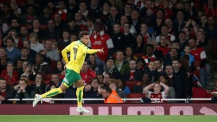 Josh Murphy celebrates putting Norwich City ahead at The Emirates.