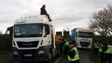 The lorry was close to the entrance of the Third Energy fracking site at Kirby Misperton.