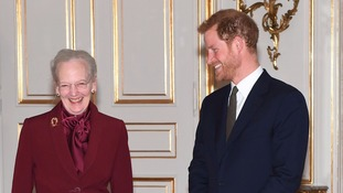 Prince Harry met Queen Margarethe II at Amalienborg Palace.