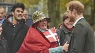 Prince Harry went down well with Danes he met in Copenhagen.