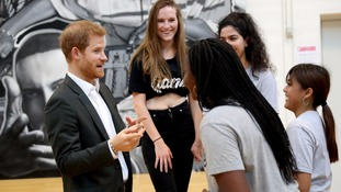 The prince met young members of a GAME centre, which uses sports to create lasting social change.