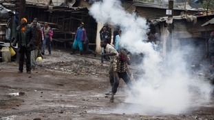 Police fired teargas at protesters in Nairobi's Kibera slum