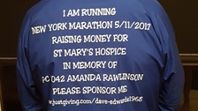PC Dave Edwards is running the New York marathon in memory of PC Amanda Rawlinson