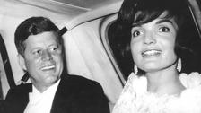 President Kennedy with First Lady Jackie Kennedy.