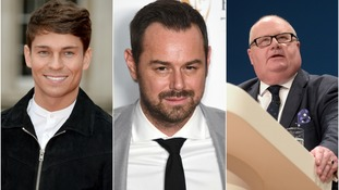 Joey Essex (left), Danny Dyer (centre) and Sir Eric Pickles (right) also made the top ten.